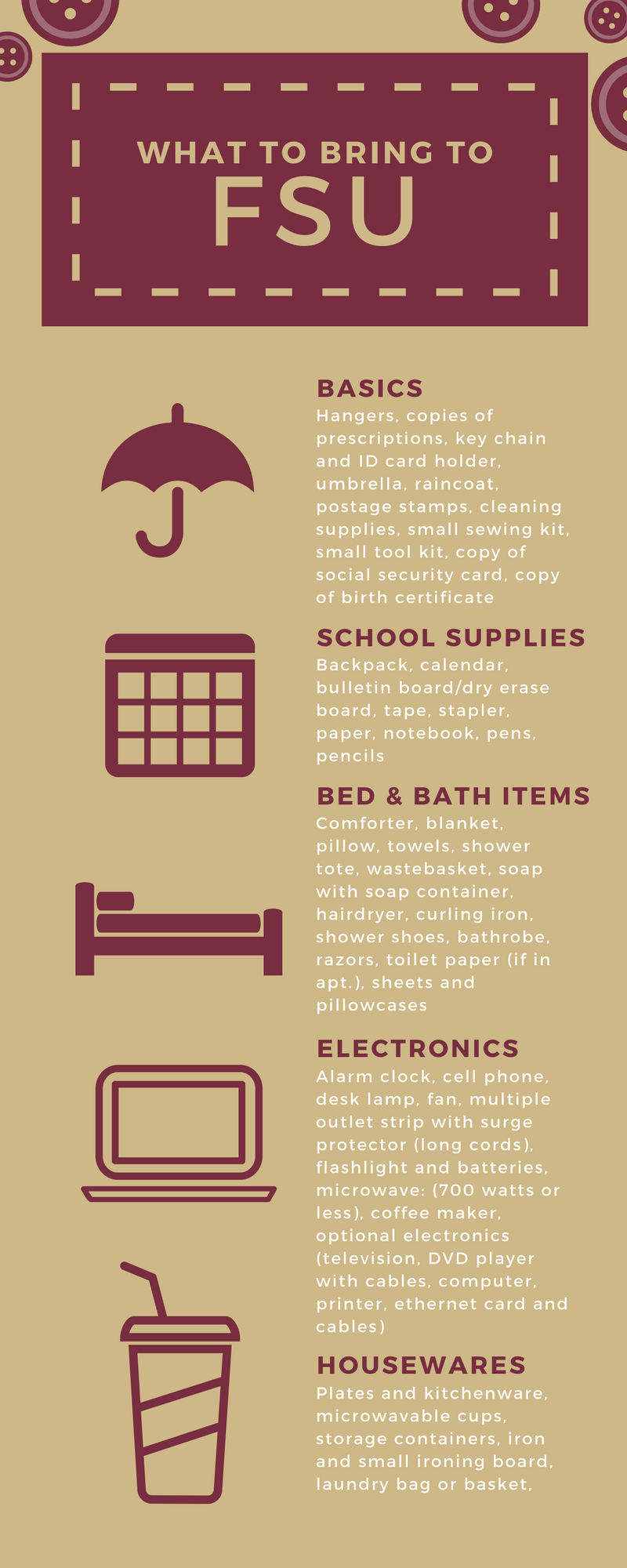 What to Bring to FSU Infographic